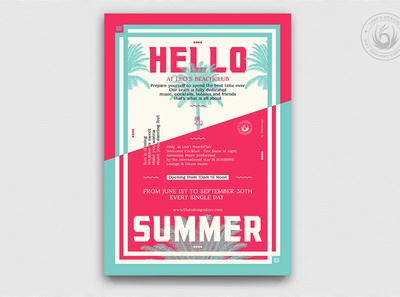Summertime Flyer Template V4 exotic solstice season club pink blue minimal island print photoshop psd flyer template poster party flyer design festival party event beach party beach summer