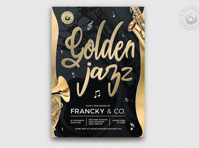 Golden Jazz Flyer Template V2 jazz festival live design print photoshop psd template poster flyer saxophone golden gold black band elegant classy gig concert music jazz