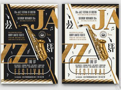 Golden Jazz Flyer Template V3 template poster flyer elegant classy white concert live band gig golden gold black corner club bar festival saxophone music jazz