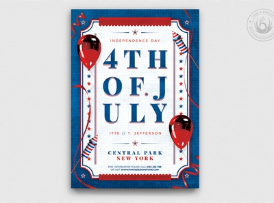 Independence Day Flyer Template V3 typographic elegant labor memorial patriotic photoshop psd club template poster flyer america party usa united states celebration 4th july 4thofjuly day independence