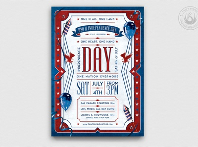 Independence Day Flyer Template V4 design print political patriotic night america united states usa celebration photoshop psd club party template poster flyer day memorial labor independence