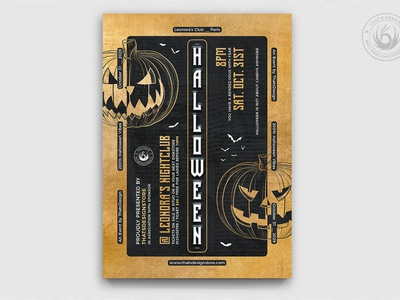 Halloween Flyer Template V27 psd template poster flyer club nightclub freakshow freak scary elegant classy black and gold gold black party carving pumpkins night halloween party halloween