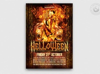 Halloween Flyer Template V3 photoshop psd template poster flyer show freak fright scary fire hot club night party devil evil sexy hell helloween halloween