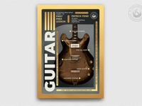 Guitar Lessons Flyer Template V5 blues rock school guitarist learning teaching gig concert indie music design print photoshop psd template poster flyer lessons classes guitar