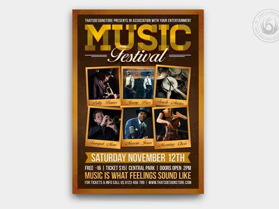 Music Festival Flyer Template V7 photoshop psd retro design template poster flyer blues jazz alternative country indie musician live band gig concert festival fest music