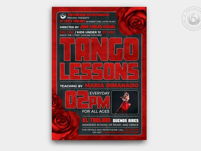 Tango Flyer Template V2 black and red design print photoshop psd template poster flyer argentina argentinian concert music lessons classes exhibition shox dancing dancer dance tango