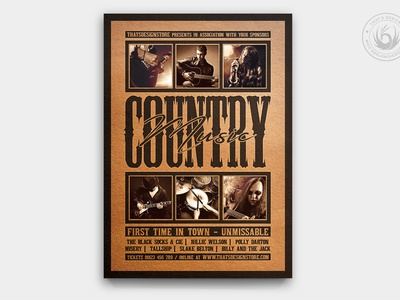 Country Music Flyer Template V4 live band musician singer design template poster flyer america usa american wanted guitar western saloon show gig concert music country