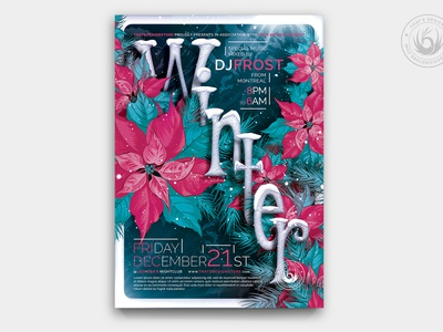 Winter Season Flyer Template V2 design photoshop psd template poster flyer flowers snow frozen cold mountains sales sale festival club christmas party solstice season winter