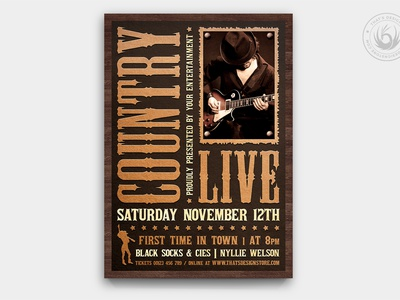 Country Music Flyer Template V5 singer design template poster flyer farm rodeo ranch american wanted western unplugged acoustic guitar gig festival fest concert music country