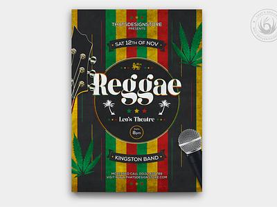 Reggae Music Flyer Template black love peace rastafarian rasta jamaica rock indie guitar design template poster flyer band gig cannabis festival concert music reggae