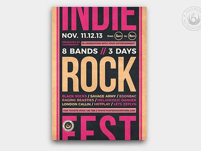 Indie Rock Flyer Template V12 event design print photoshop psd template poster flyer album musician festival fest live band retro gig concert music rock indie