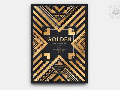 Black and Gold Flyer Template V22 event design template poster flyer brand branding dj club opening grand opening party black and gold gatsby art deco elegant classy golden gold black