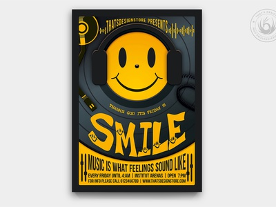 Thank God It's Friday  Flyer Template vinyl face happy design template poster flyer mix music yellow turntable emoji smiley smile dj club party weekend saturday friday