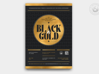 Black and Gold Flyer Template V23 invitation club branding anniversary design print photoshop psd template poster flyer elegant classy opening grand opening party golden black and gold gold black