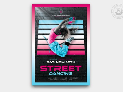 Street Dancing Flyer Template blue pink exhibition classes competition show sport design print photoshop psd template poster flyer bboy breakdance dancing dance street urban