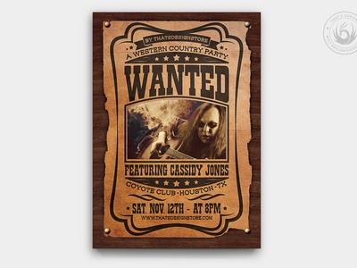 Country Music Flyer Template V6 saloon american festival design print photoshop psd template poster flyer old cowboy gig band concert rodeo wanted western music country