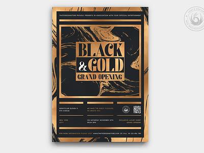 Black and Gold Flyer Template V24 photoshop psd design template poster flyer anniversary celebration party lounge bar cigar whiskey elegant classy opening grand opening black and gold gold black