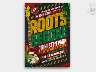 Reggae Music Flyer Template V2 singer show live roots photoshop psd design template poster flyer guitar summer rasta band festival fest gig concert music reggae