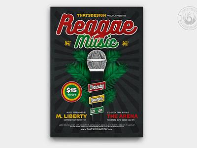 Reggae Music Flyer Template V3 rastafarian rasta microphone summer freestyle album design print photoshop psd template poster flyer gig and festival fest concert music reggae