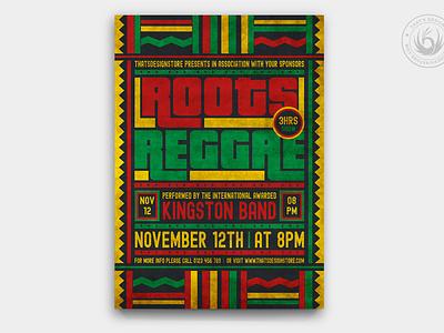Reggae Music Flyer Template V4 rasta roots print photoshop psd design template poster flyer ethnic african africa tribal gig band concert festival fest music reggae