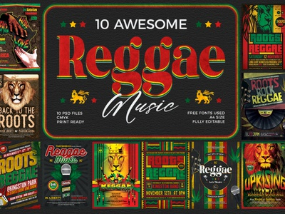 10 Reggae Music Flyer Bundle rasta lion design print photoshop psd template poster flyer gig fest ethnic tribal african africa band concert festival music reggae