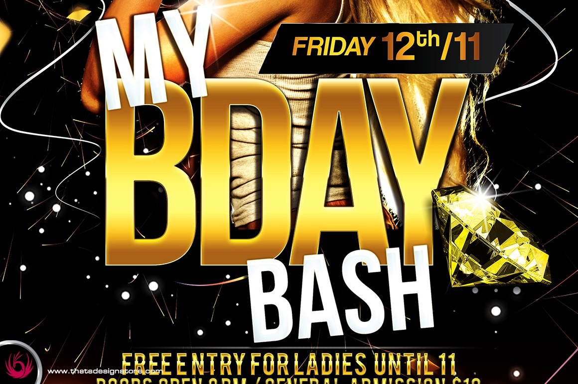 my birthday bash flyer template by lionel laboureur dribbble