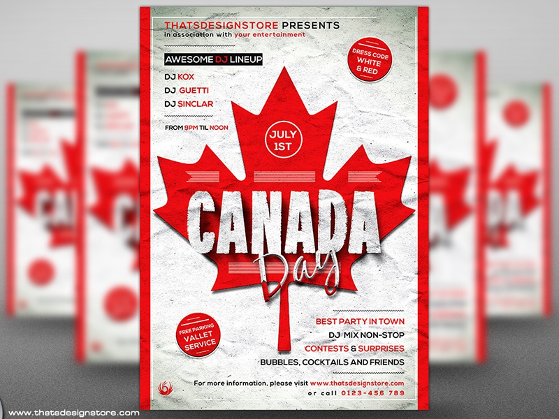 canada day flyer poster template by lionel laboureur dribbble. Black Bedroom Furniture Sets. Home Design Ideas