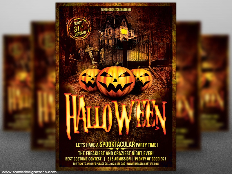 Halloween Flyer Template V1 Horror Tombstone Psd Manor Haunted House Pumpkins Night