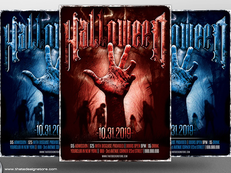 Halloween Flyer Template V9 by Lionel Laboureur Dribbble – Zombie Flyer Template