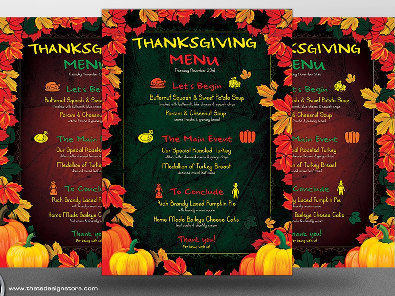 thanksgiving menu template v1 by lionel laboureur dribbble dribbble