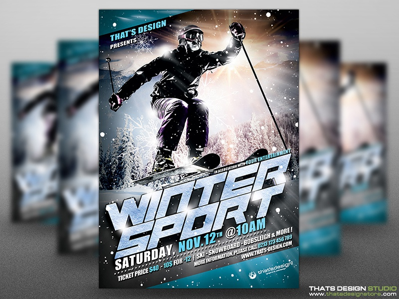 winter sports flyer template v1 by lionel laboureur dribbble
