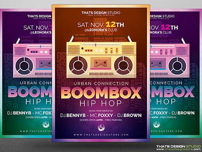 Hip Hop Flyer Free Psd Template music dj urban boombox rap hiphop psd flyer gratuit gratis freebie free