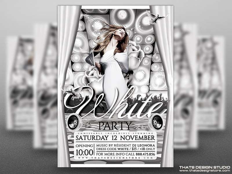 White Party Flyer Template V1 By Lionel Laboureur Dribbble