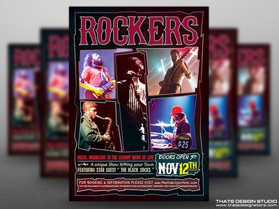 Free Rock Concert Flyer Template By Lionel Laboureur Dribbble