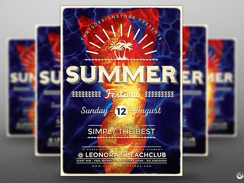 Summer Fest Flyer Template V3 diving dive surfing surf holiday dj pool party festival fest beach summer