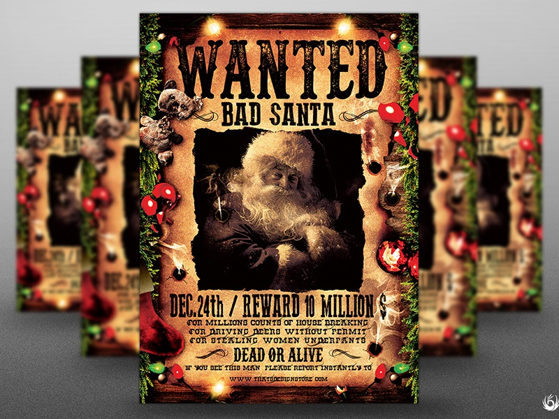 wanted bad santa flyer template by lionel laboureur dribbble
