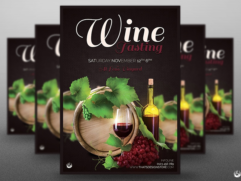 Wine Tasting Flyer Template By Lionel Laboureur Dribbble Dribbble