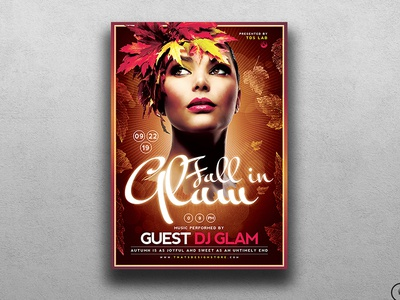 Fall In Glam Flyer Template V5 ladies night flyer ladies night autumn night nightfall fall night glam night glam party glam flyer autumn flyer template fall flyer template autumn party fall party
