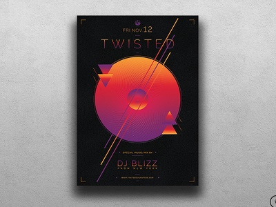 Twisted Session Flyer Template waves sound vibes nightclub night club party dj futuristic electro minimal abstract