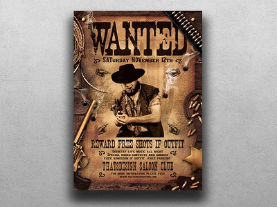 Wanted Western Party Flyer Template wooden music country rodeo club cowboy farwest wanted western party saloon sherif