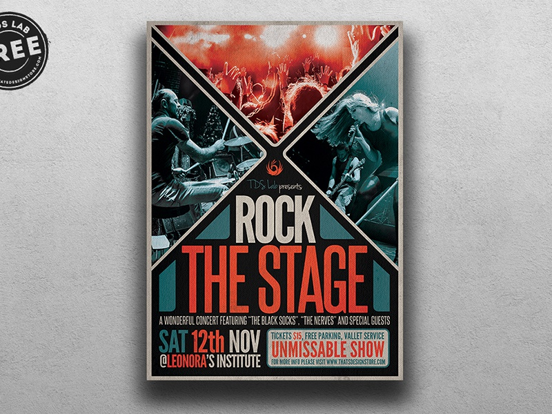 Free Rock The Stage Flyer Template freebie free band live singer musician music festival fest jazz rock concert