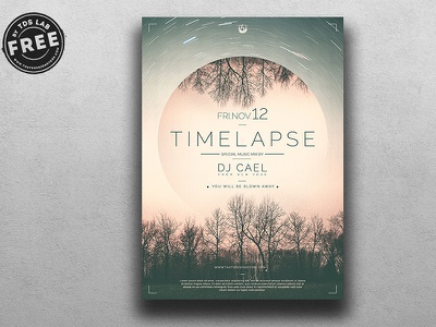 Free Time Lapse Flyer Template winter electro party clubbing club dj poster flyer psd freebies freebie free