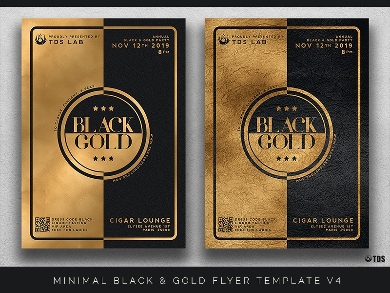 minimal black and gold flyer template v4 by lionel laboureur