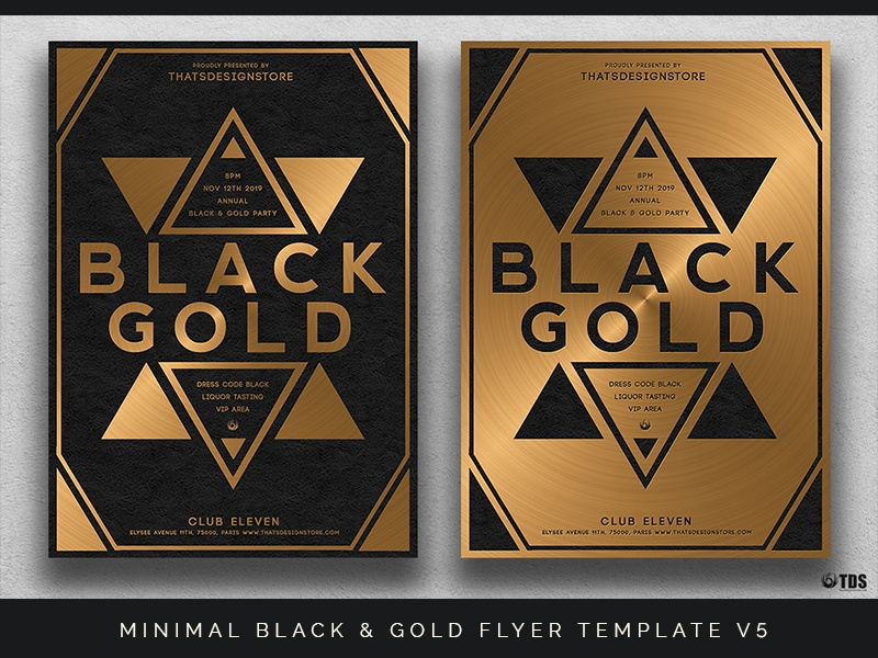 minimal black and gold flyer template v5 by lionel laboureur