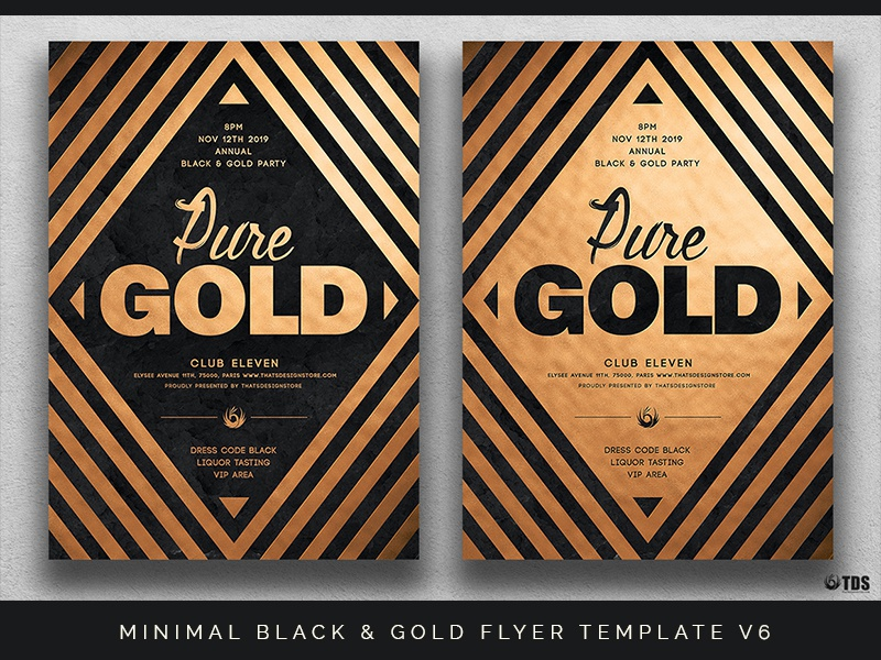 minimal black and gold flyer template v6 by lionel laboureur