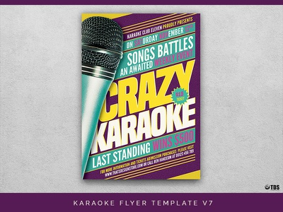 Karaoke Flyer Template V7 thatsdesignstore karaoke contest comedy club funky talent show microphone party club music disco night