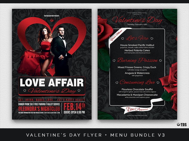 Valentines Day Flyer Menu Bundle V3 By Lionel Laboureur Dribbble