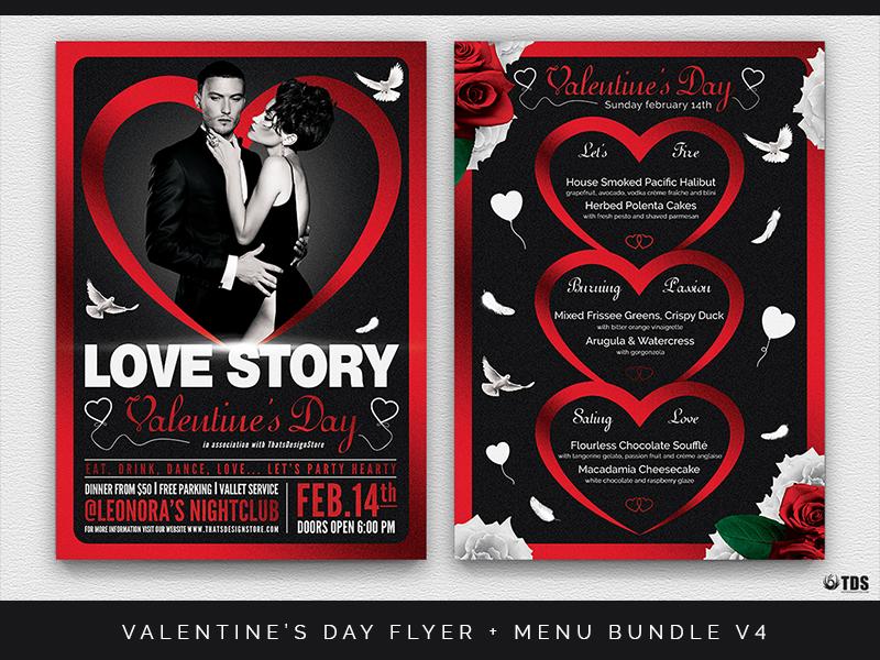 Valentines Day Flyer Menu Bundle V4 By Lionel Laboureur Dribbble
