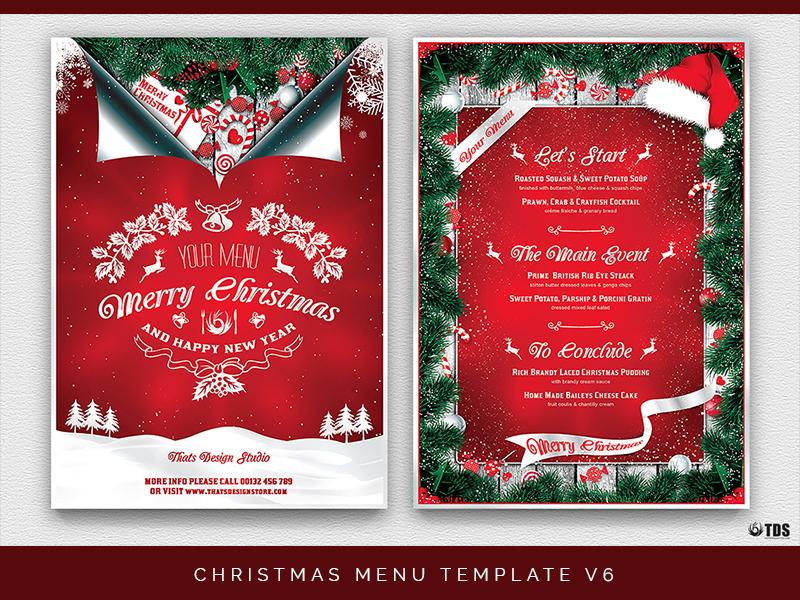 01 christmas menu template v6 dribbble - Christmas Menu Template