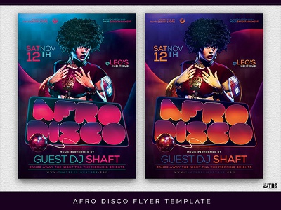 Afro Disco Flyer Template template groovy disco poster ladies night party flyer funk funky dj thatsdesignstore
